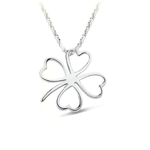 long electroplating silver clover necklace