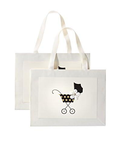 S.E. Hagarman Set of 2 Black and Gold Polka Dot Stroller Large Gift Bags, Ivory