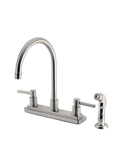 Kingston Brass Centerset Kitchen Faucet With Sprayer, Satin Nickel