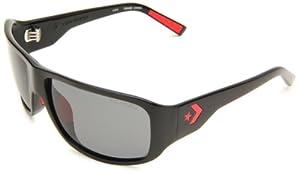 Converse Backstage Men's Overtime Wrap Sunglasses,Black Frame/Grey Lens,One Size