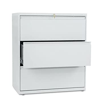 800 Series Three-Drawer Lateral File, 36w x 19-1/4d x 40-7/8h, Light Gray