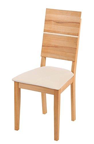 SAM-Esszimmerstuhl-Hugo-mit-Sitzflche-aus-edlem-Lederimitat-in-creme-massive-gelte-Kernbuche-Beine-Stuhl-mit-hoher-Rckenlehne-hoher-Sitzkomfort