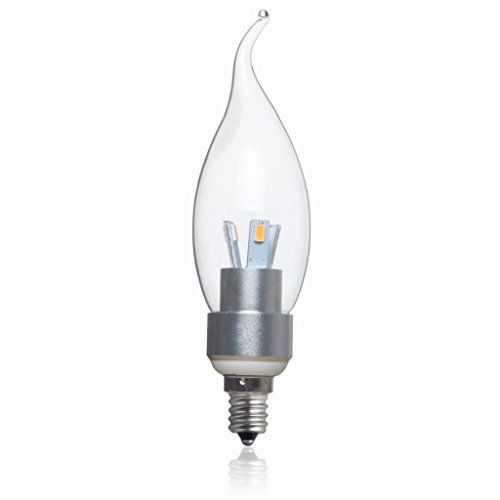 Golden Sun Dimmable 4W Chandelier Led Flame Tip Bulb, Clear Glass Lens Silver Housing, 40 Watt Equivalent, E12 Candelabra Base, Sexy Led Design, 4000K Natural White