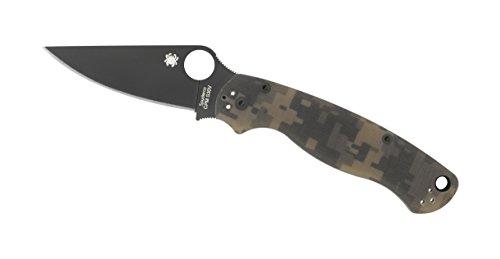 Spyderco ParaMilitary2 Camo G-10 Black Blade PlainEdge Knife