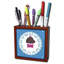 TNMGraphics Food and Drink - Chocolate Cupcake on Doily - Tile Pen Holders-5 inch tile pen holder