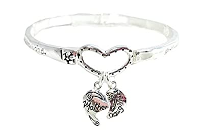 Mother Daughter Stretch Bracelet C25 Bangle Mom Heart Charm Family Silver Tone Fashion Jewelry