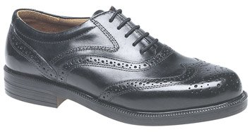 Mens Black Leather Fulfit Wing Cap Brogue Oxford Shoe (M9)