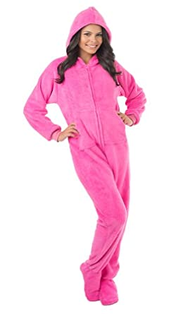 Footed Pajamas Perfect Pink Adult Hoodie One Piece - Large