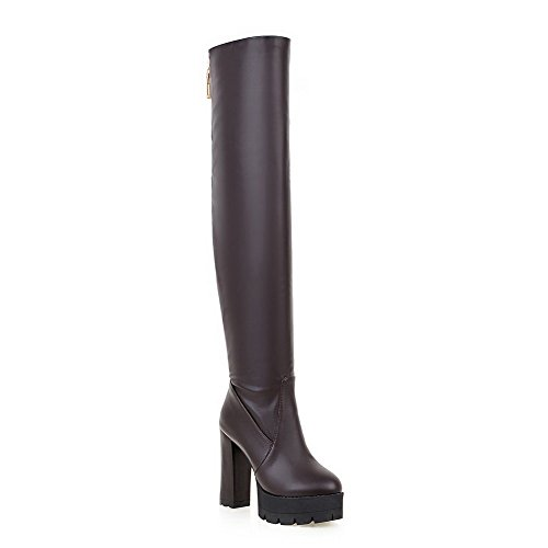 agoolar-womens-solid-high-heels-round-closed-toe-pu-pull-on-boots-brown-42