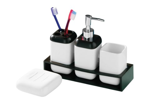 Premier Housewares 4-Peice Square Bathroom Set, Ceramic and Mahogany Colour Wood with Tray