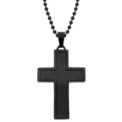 Men's Stainless Steel and Carbon Fiber Cross with Black Ionic Plating Pendant Necklace , 22