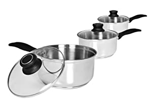 3pc Stainless Steel Sauce Pan Set with Glass Lids ~ 10 Year Manufacturers Guarantee