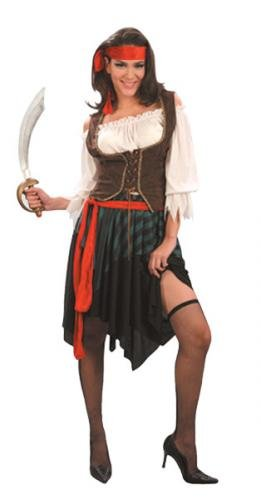 Caribbean Pirate Lady Fancy Dress Costume One