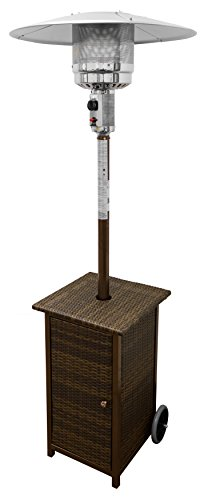 AZ Patio Heaters HLDS01-WHSQ Tall Square Wicker Patio Heater with Wheels (Propane Patio Heater Wicker compare prices)