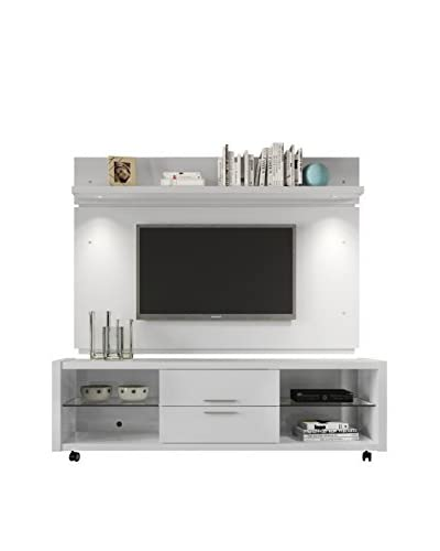 Manhattan Comfort Belvedere TV Stand 1.0 + Park 1.8 Panel, White