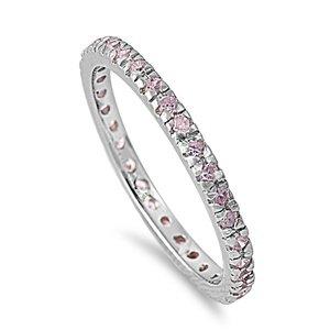 2mm Sterling Silver Pink CZ Eternity Ringe-October Birthstone-Size 4