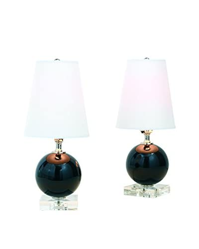 City Scape Katie Set of 2 Mini Black Lamps, Black