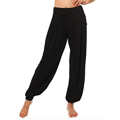 F&C Womens Soft Elastic Waistband Fitness Yoga Herem Pants Belly Dance Fitness Workout Pants