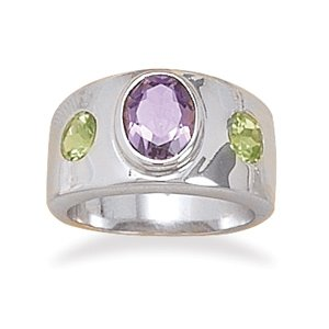Sterling Silver Peridot and Amethyst Bezel Set Ring / Size 10