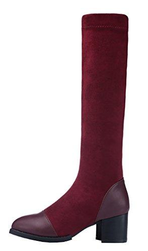 Guciheaven Women Winter New Style Keep Warm Add Wool Slim-Fitting Rough Heels(5.5 B(M)Us, White)