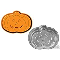 Wilton 80342R Handi Foil Bake America Bake And Carry 2 Pumpkin Shaped Pans With Lids