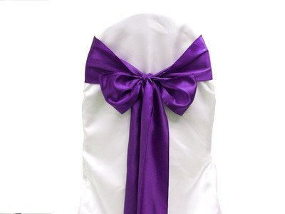 Purple Satin Wedding Chair Sash Bows (Set of 10)