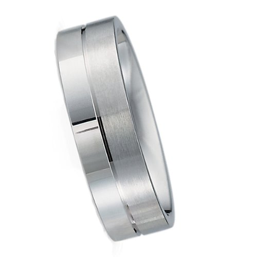 6.00 Millimeters White Gold Wedding Band Ring 10Kt Gold, Comfort Fit Style SV54-306W6 , Finger Size 8