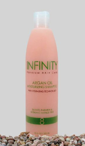 INFINITY Premium Hair Care Argan Oil Moisturizing Shampoo with Hydrating Technology: Sulfate, Paraben, and Sodium Chloride Free, 12 FL OZ/ 350 ML