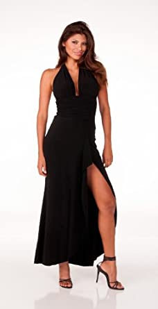 Sophisticated Long Evening Club Cocktail Halter Dress with Draped Hem from Hot Fash Dresses - EMPRESS Black