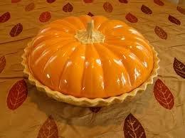 Deep Dish Ceramic Covered Pumpkin Pie Plate