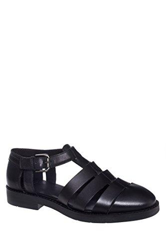Lejla Leather Low Heel Cut Out Sandal