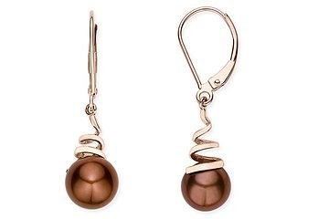 14K Pink Gold 8-9mm Cultured Freshwater Round Chocolate Pearl Earrings