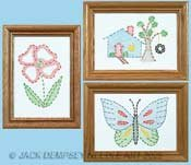 White Stamped Beginner Embroidery Kit 6X8 Samplers 3/Pkg