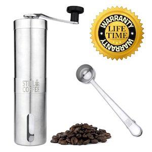 Manual Coffee Grinder Professional Heavy Duty Stainless Steel with Adjustable Ceramic Burr Premium Portable Coffee Mill Offers Consistency And Precision. Aeropress Compatible Includes Stainless Spoon Review