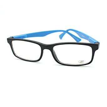 Clear Lens Eyeglasses Thin Rectangular Black Frame Blue Zebra Print