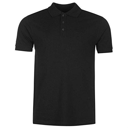 Pierre Cardin Polo da uomo tinta unita Polo T-Shirt maglietta a manica corta colletto Tee Top nero XXL