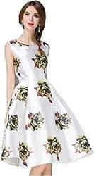 MR Fashion Women''s White Digital Printed Semi-Stitch Ethnic Dress