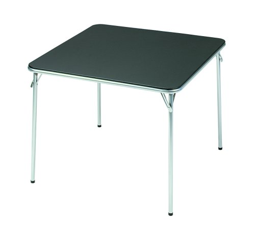 Meco Samsonite Sterling and Black Vinyl Square Folding Table