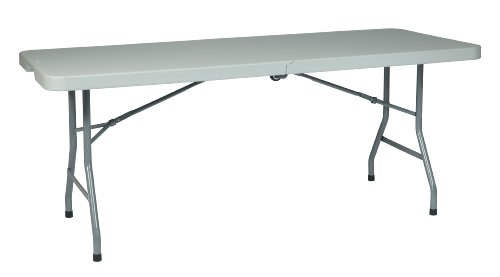 Office Star Resin Multipurpose Rectangle Table, 6-Feet, Center Folding with Wheels (Table Wheels compare prices)