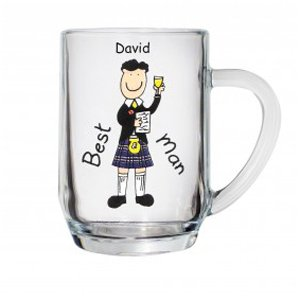 Best Man Personalised Scottish Tankard Glass