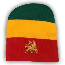 Lion of Judah Green Yellow Red Rasta Winter Beanie Hat Cap