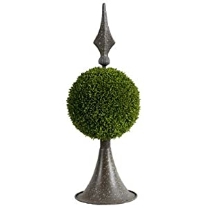 A&B Home Boxwood Ball Topiary with Metal Finial Stand, 17-Inch