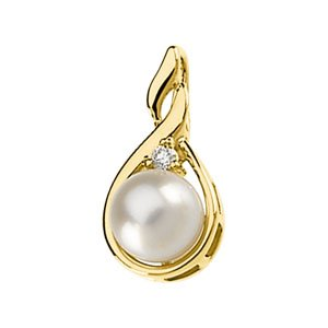 14k Yellow Gold Cultured Pearl And Rough Diamond Pendant 7mm - JewelryWeb