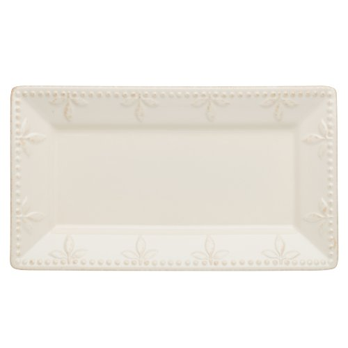 Signature Housewares Rectangular Stoneware Serving Tray 11-1/2 by 6-1/4-Inch, Ivory