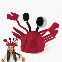 Red Felt Crab Hat Party Costume Adjustable Fits