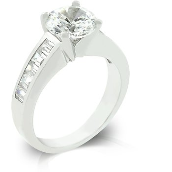 White Gold Rhodium Bonded Anniversary Ring with 2ct Round Cut CZ and Channel Set Baguettes in Silvertone