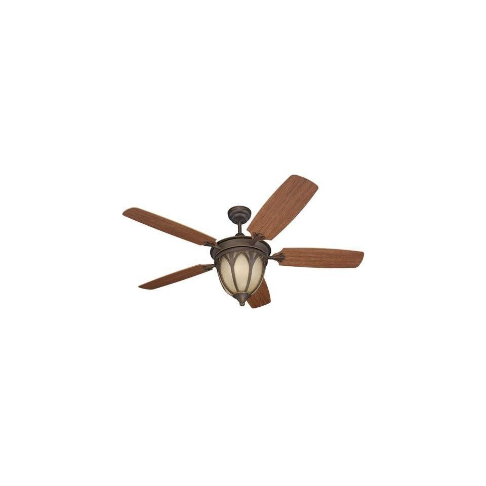 Alfresco Grand Isle Indoor/outdoor Ceiling Fan, ROMAN BRONZE, TEAK W/ GRAIN