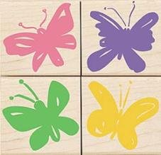 Bright Butterflies Wood Mounted Rubber Stamp Set (LL805)