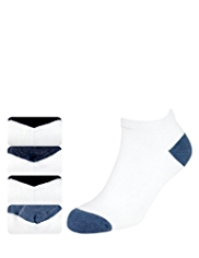 4 Pairs of Freshfeet™ Cotton Rich Piqué Trainer Liner Socks with Silver Technology