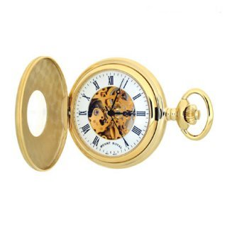 Mount Royal - Matt Finish Gold Plated Half Hunter 17 Jewel Mechanical Pocket Watch - B25 - (WW1705) - 4.4cm diameter x 0.9cm depth
